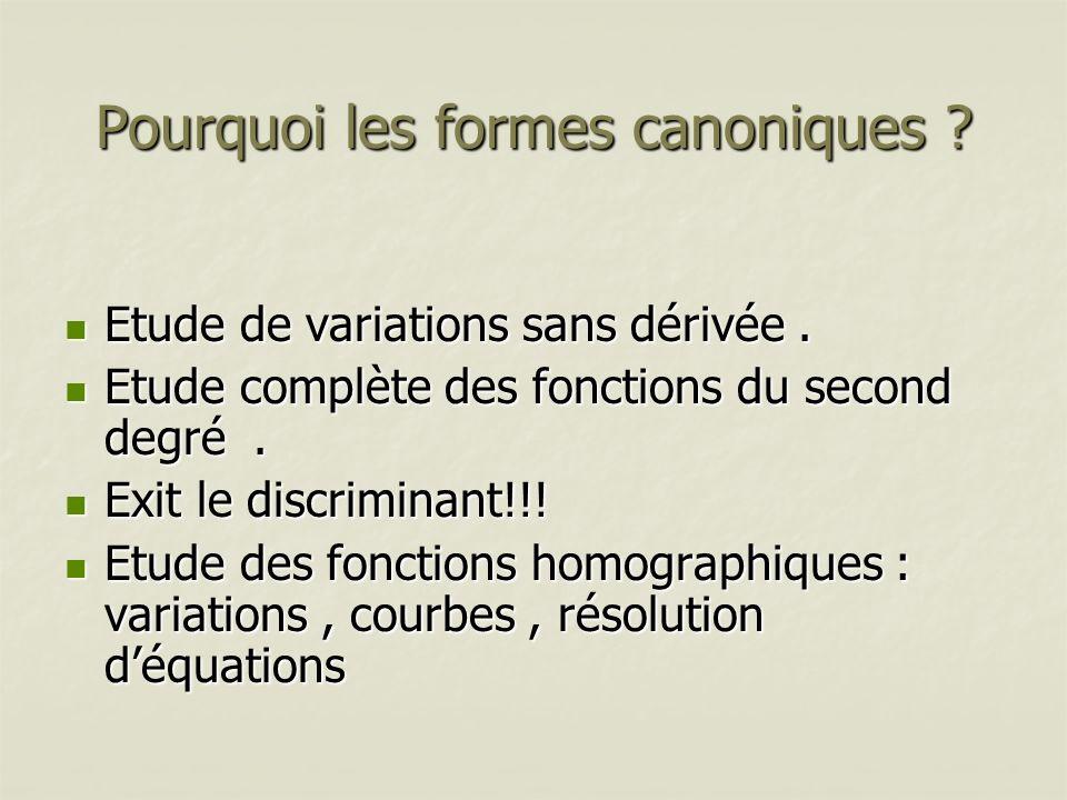 Pourquoi les formes canoniques ? Etude de variations sans dérivée. Etude de variations sans dérivée. Etude complète des fonctions du second degré. Etu