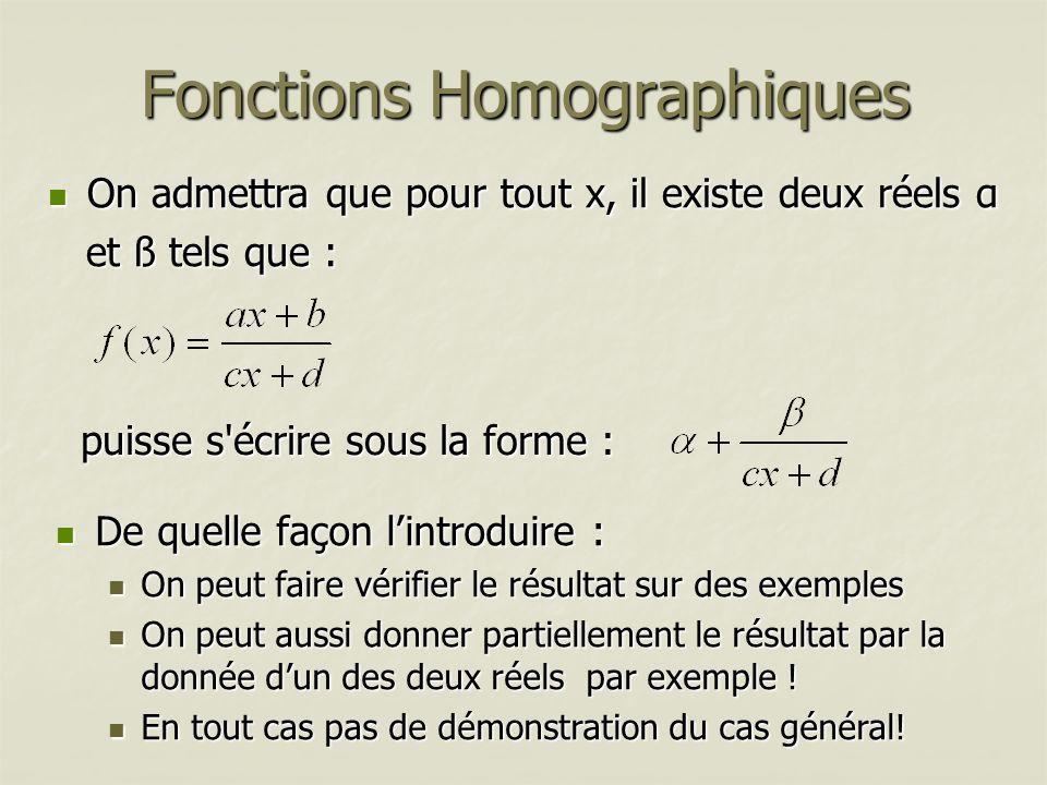Fonctions Homographiques De quelle façon lintroduire : De quelle façon lintroduire : On peut faire vérifier le résultat sur des exemples On peut faire