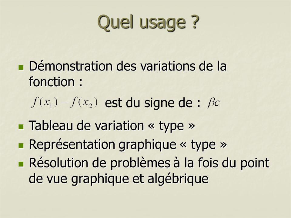 Quel usage ? Démonstration des variations de la fonction : Démonstration des variations de la fonction : Tableau de variation « type » Tableau de vari