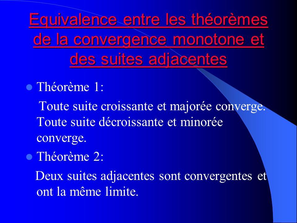 Equivalence entre les théorèmes de la convergence monotone et des suites adjacentes Equivalence entre les théorèmes de la convergence monotone et des
