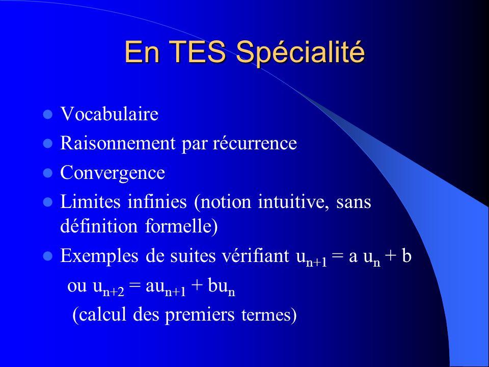 En TES Spécialité Vocabulaire Raisonnement par récurrence Convergence Limites infinies (notion intuitive, sans définition formelle) Exemples de suites