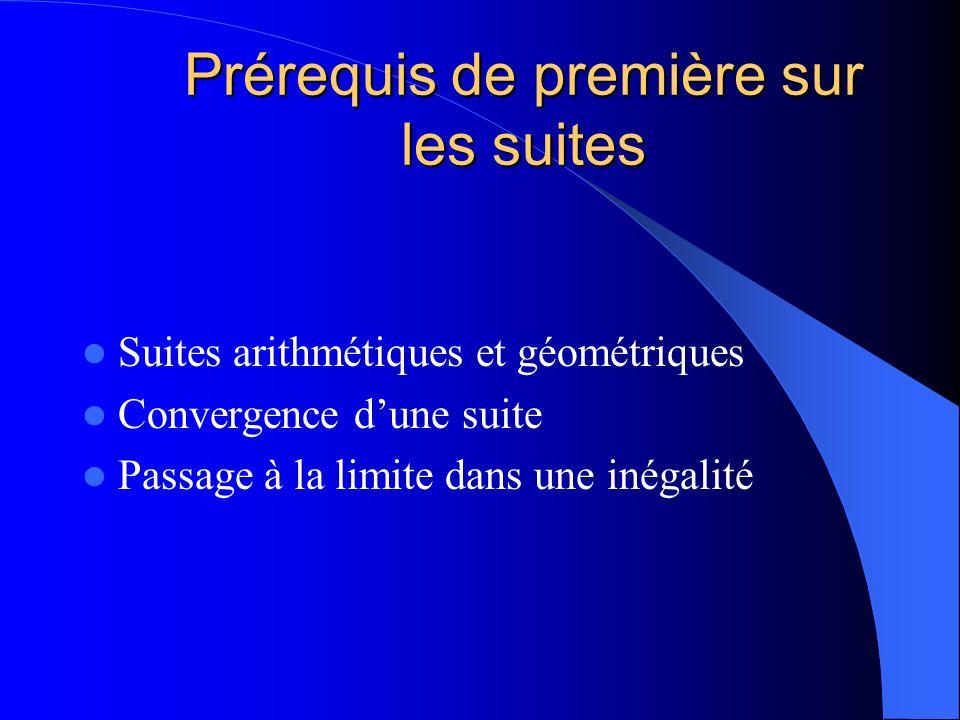 Prérequis de première sur les suites Suites arithmétiques et géométriques Convergence dune suite Passage à la limite dans une inégalité