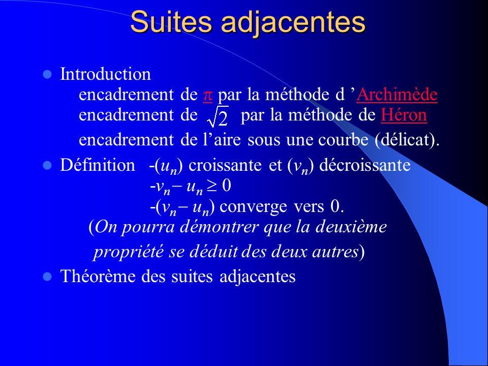 Suites adjacentes Introduction encadrement de par la méthode d Archimède encadrement de par la méthode de Héron ArchimèdeHéron encadrement de laire so