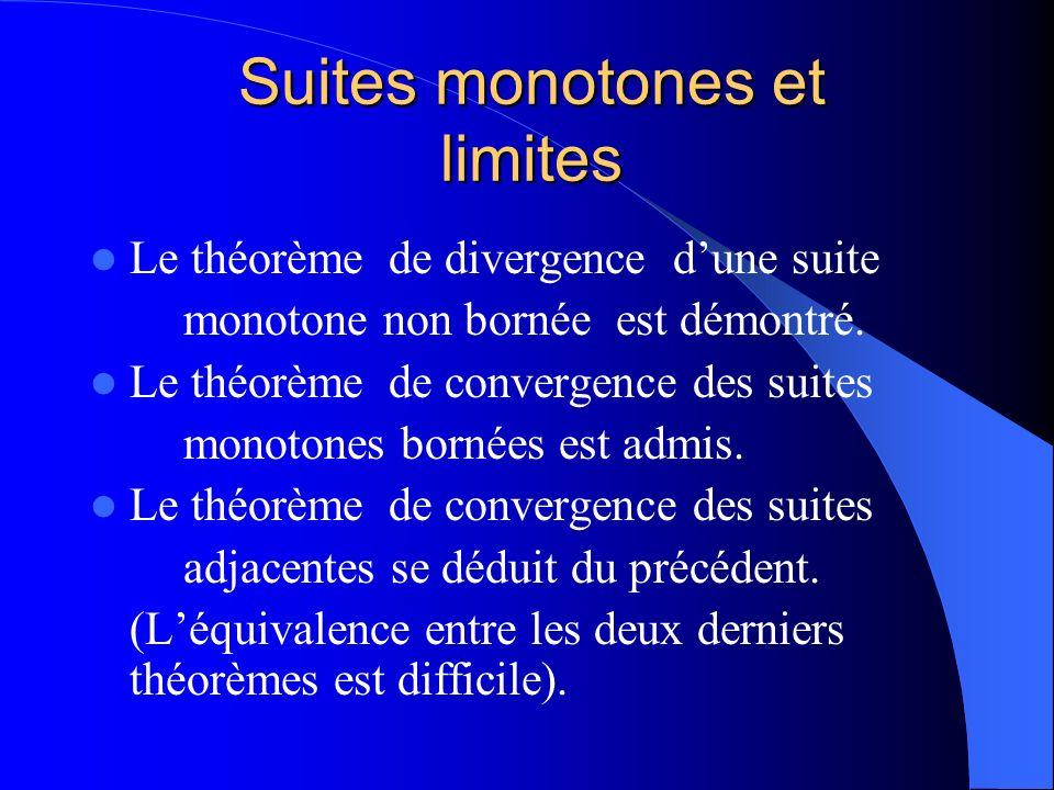 Suites monotones et limites Le théorème de divergence dune suite monotone non bornée est démontré. Le théorème de convergence des suites monotones bor