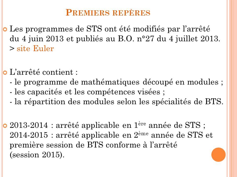 P REMIERS REPÈRES Les programmes de STS ont été modifiés par larrêté du 4 juin 2013 et publiés au B.O.