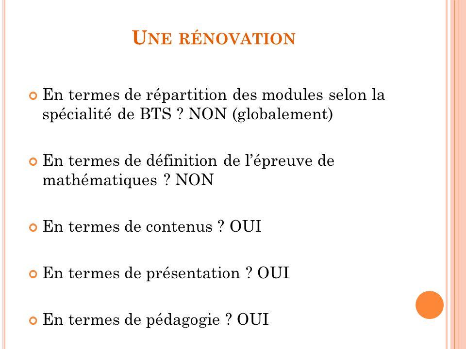 U NE RÉNOVATION En termes de répartition des modules selon la spécialité de BTS .