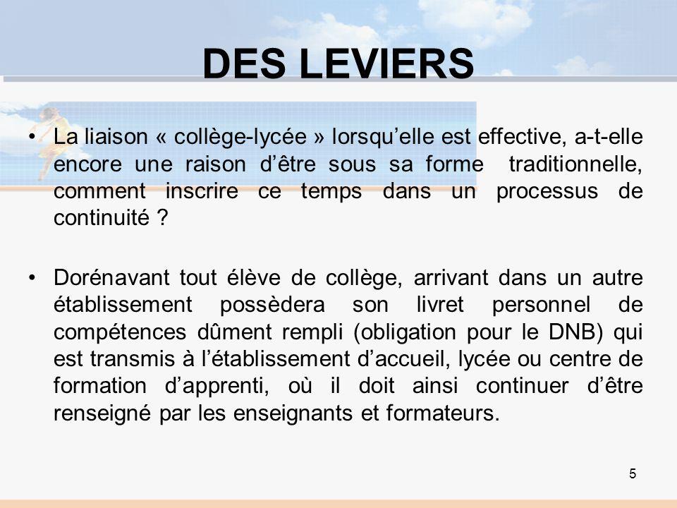 DES LEVIERS La liaison « collège-lycée » lorsquelle est effective, a-t-elle encore une raison dêtre sous sa forme traditionnelle, comment inscrire ce temps dans un processus de continuité .