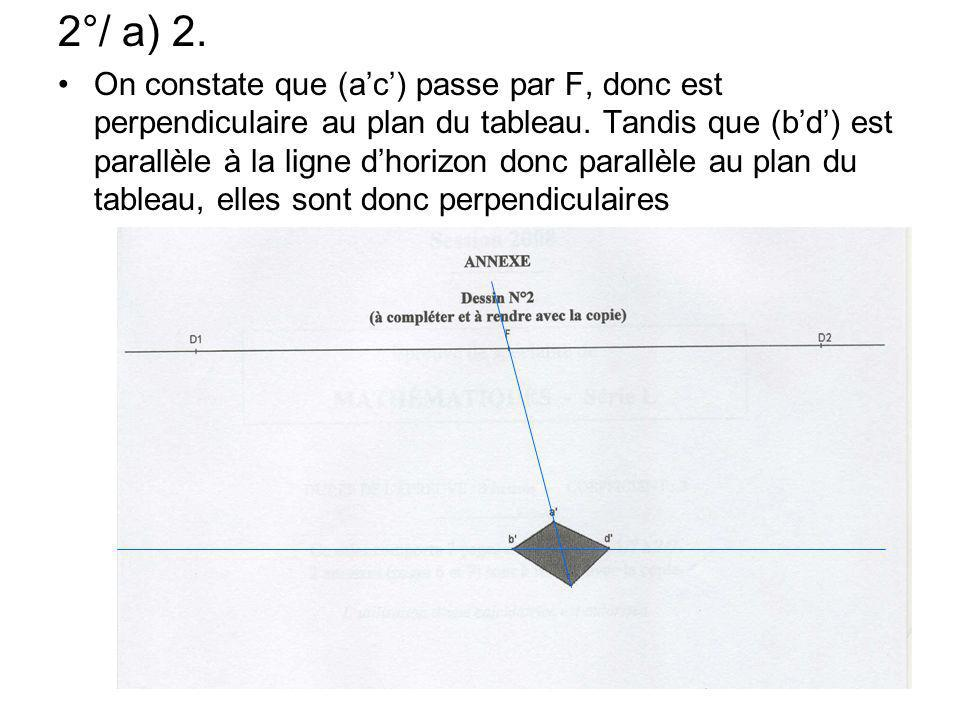 2°/ a) 2. On constate que (ac) passe par F, donc est perpendiculaire au plan du tableau. Tandis que (bd) est parallèle à la ligne dhorizon donc parall