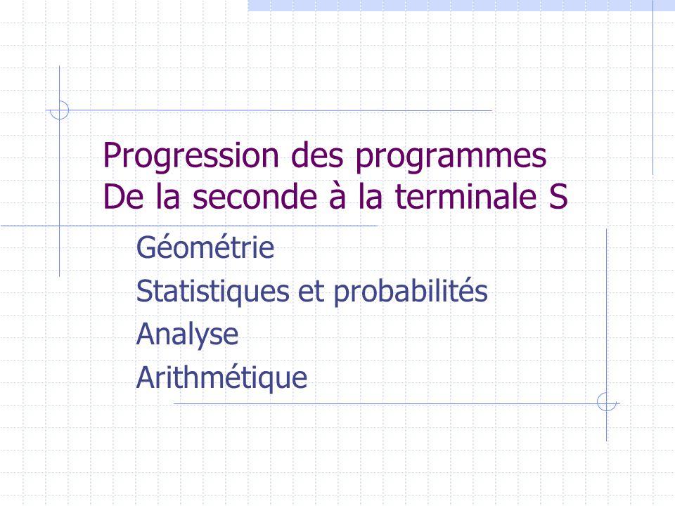 Progression des programmes De la seconde à la terminale S Géométrie Statistiques et probabilités Analyse Arithmétique