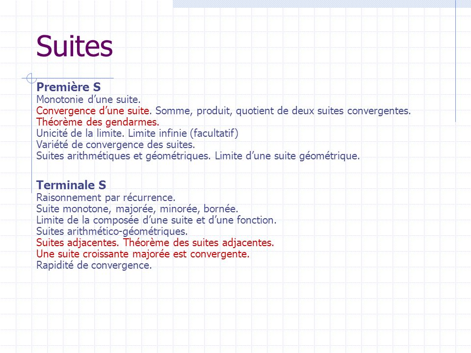 Suites Terminale S Raisonnement par récurrence. Suite monotone, majorée, minorée, bornée. Limite de la composée dune suite et dune fonction. Suites ar