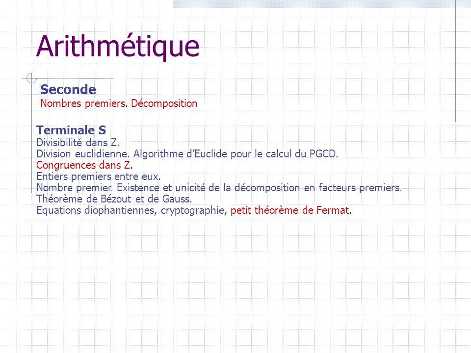 Arithmétique Terminale S Divisibilité dans Z. Division euclidienne. Algorithme dEuclide pour le calcul du PGCD. Congruences dans Z. Entiers premiers e