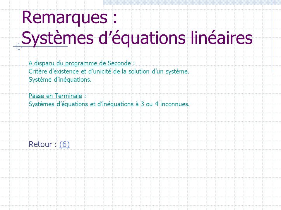Remarques : Systèmes déquations linéaires A disparu du programme de Seconde : Critère dexistence et dunicité de la solution dun système. Système dinéq
