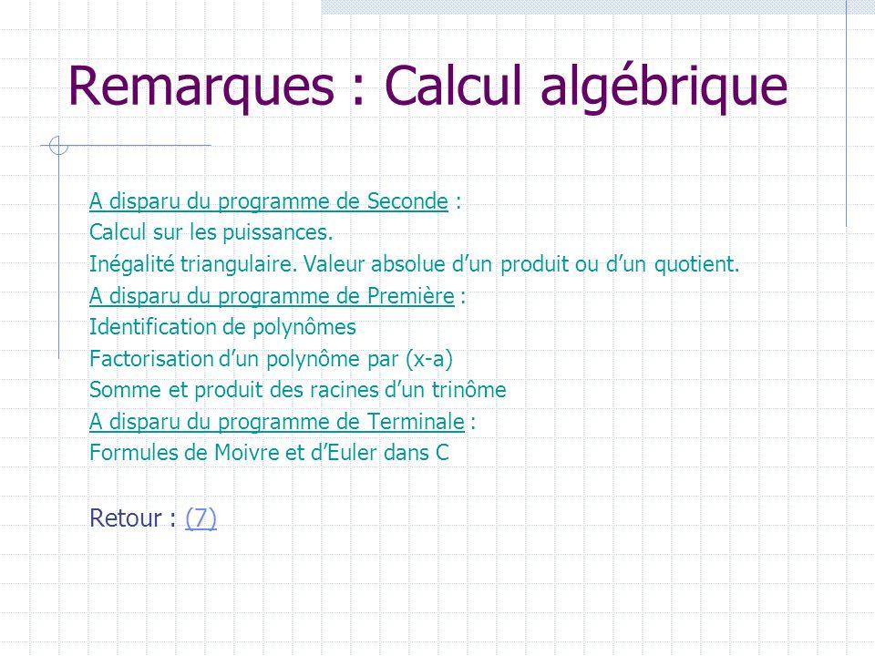 Remarques : Calcul algébrique A disparu du programme de Seconde : Calcul sur les puissances. Inégalité triangulaire. Valeur absolue dun produit ou dun
