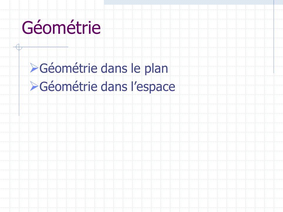 Géométrie Géométrie dans le plan Géométrie dans lespace
