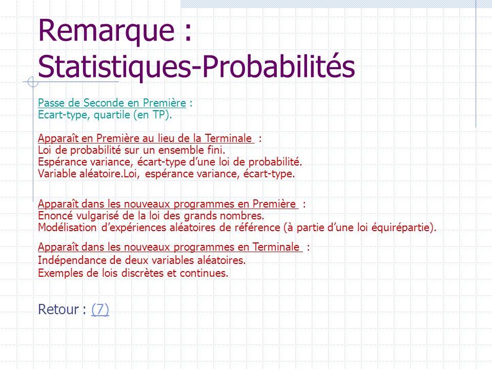 Remarque : Statistiques-Probabilités Passe de Seconde en Première : Ecart-type, quartile (en TP). Apparaît en Première au lieu de la Terminale : Loi d