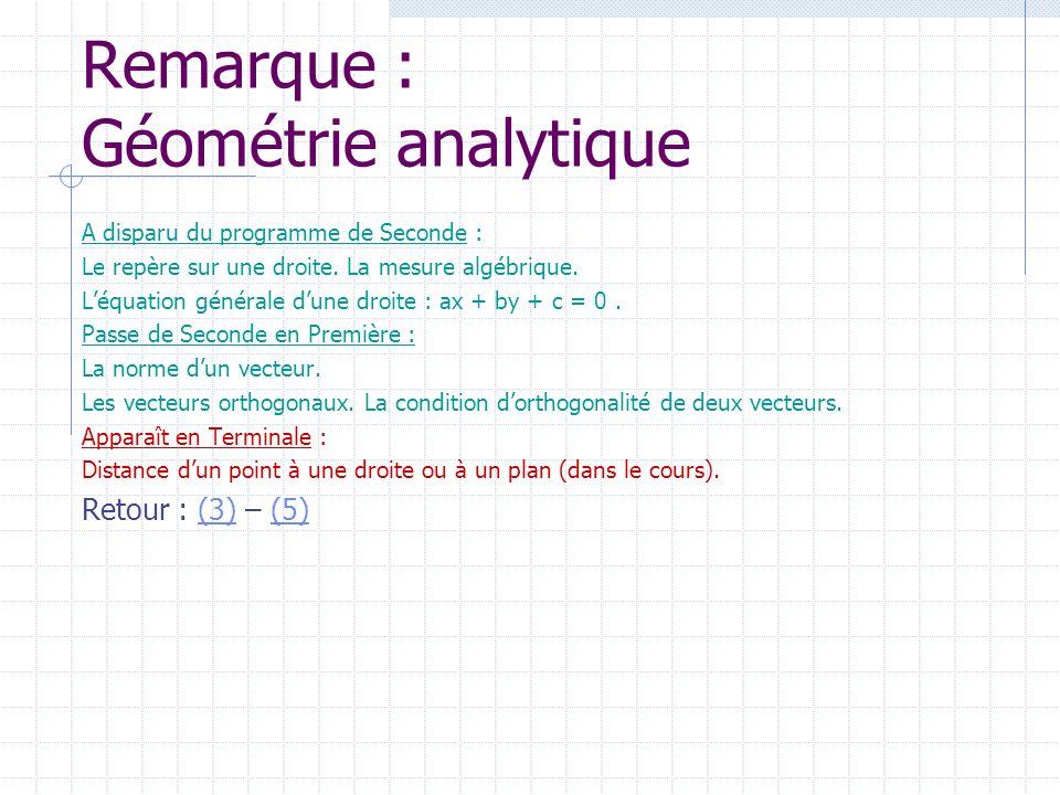 Remarque : Géométrie analytique A disparu du programme de Seconde : Le repère sur une droite. La mesure algébrique. Léquation générale dune droite : a