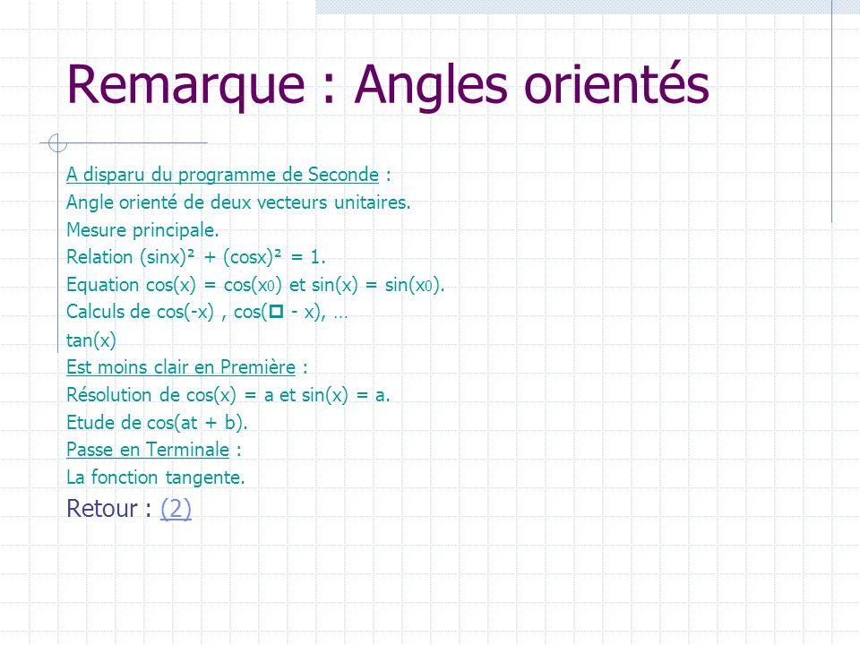 Remarque : Angles orientés A disparu du programme de Seconde : Angle orienté de deux vecteurs unitaires. Mesure principale. Relation (sinx)² + (cosx)²