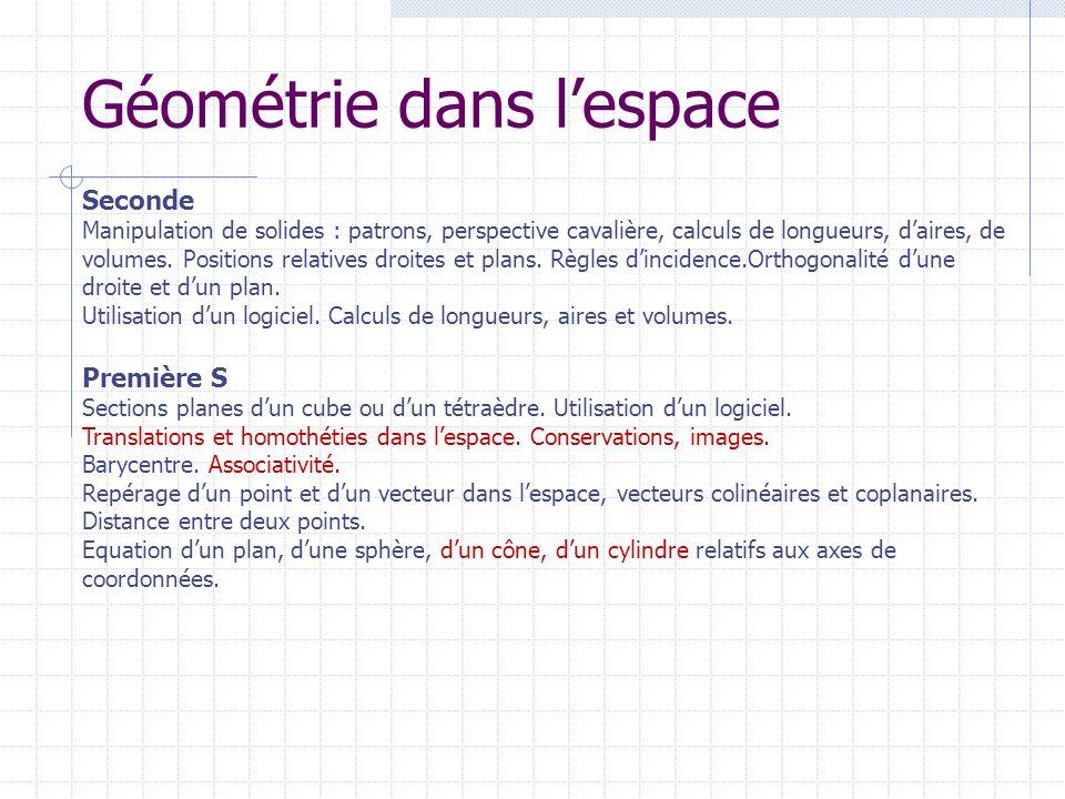 Géométrie dans lespace Première S Sections planes dun cube ou dun tétraèdre. Utilisation dun logiciel. Translations et homothéties dans lespace. Conse