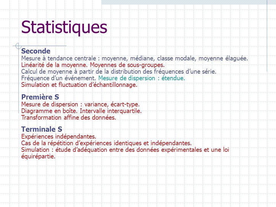 Statistiques Première S Mesure de dispersion : variance, écart-type. Diagramme en boîte. Intervalle interquartile. Transformation affine des données.