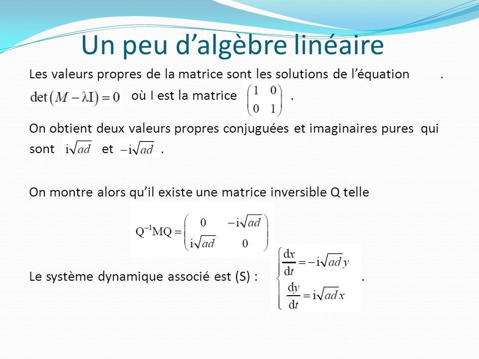 Un peu dalgèbre linéaire Les valeurs propres de la matrice sont les solutions de léquation. où I est la matrice. On obtient deux valeurs propres conju