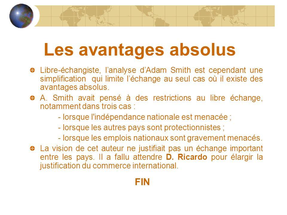 Les avantages absolus Libre-échangiste, lanalyse dAdam Smith est cependant une simplification qui limite léchange au seul cas où il existe des avantag