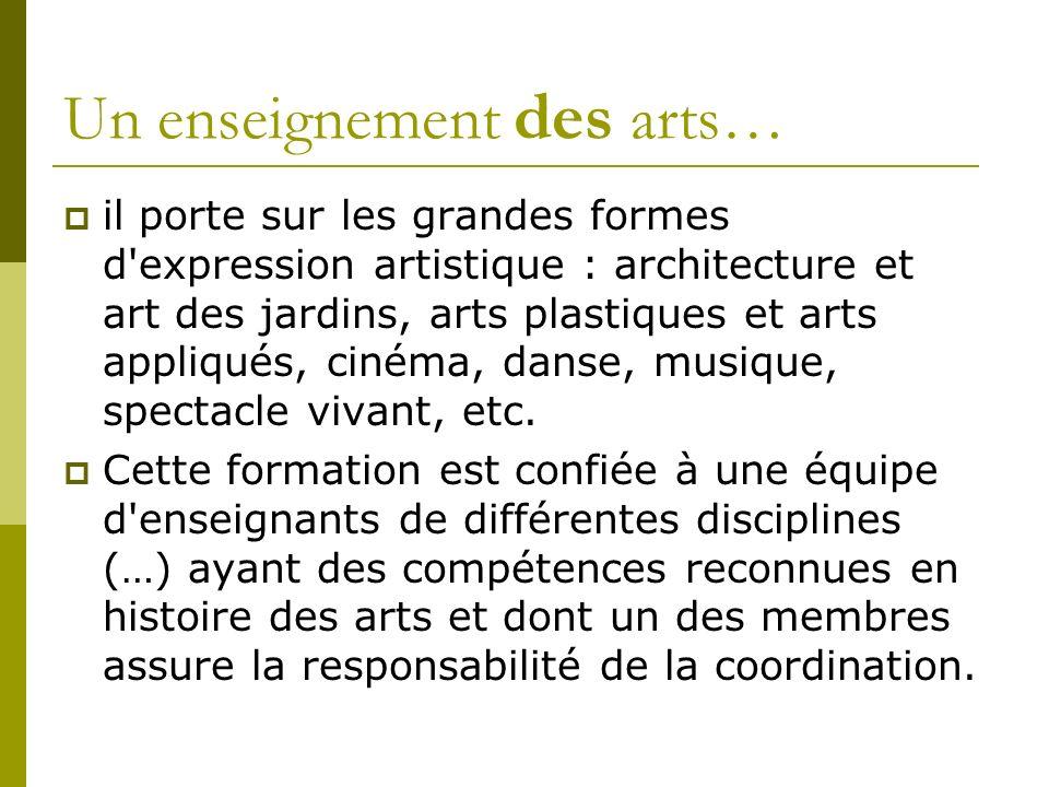 il porte sur les grandes formes d expression artistique : architecture et art des jardins, arts plastiques et arts appliqués, cinéma, danse, musique, spectacle vivant, etc.