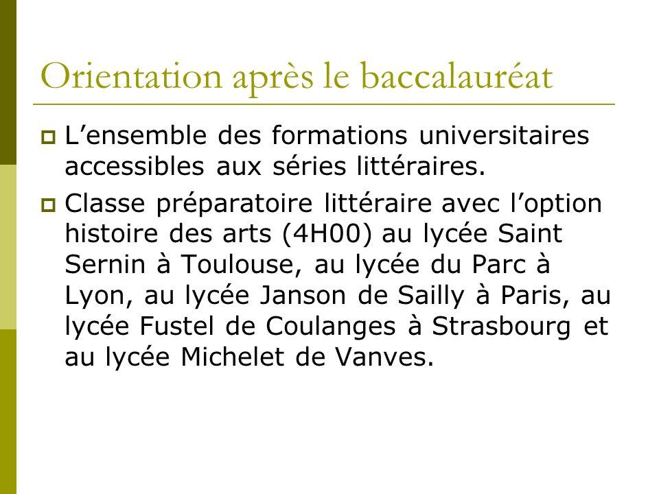 Orientation après le baccalauréat Lensemble des formations universitaires accessibles aux séries littéraires.