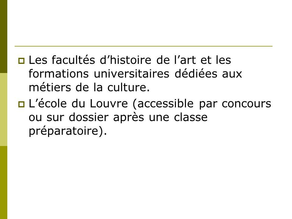 Les facultés dhistoire de lart et les formations universitaires dédiées aux métiers de la culture.