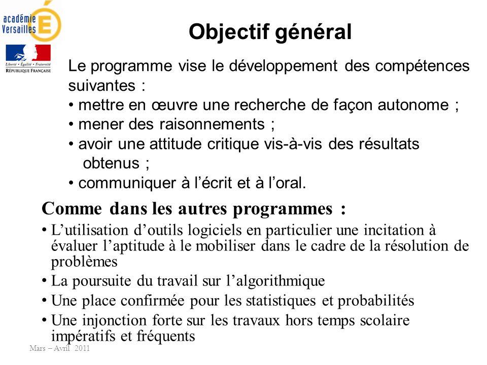 Objectif général Lutilisation doutils logiciels en particulier une incitation à évaluer laptitude à le mobiliser dans le cadre de la résolution de pro