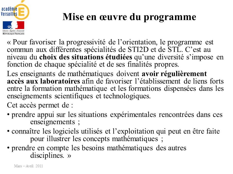 Mise en œuvre du programme « Pour favoriser la progressivité de lorientation, le programme est commun aux différentes spécialités de STI2D et de STL.