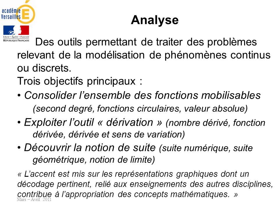 Analyse Mars – Avril 2011 Des outils permettant de traiter des problèmes relevant de la modélisation de phénomènes continus ou discrets. Trois objecti