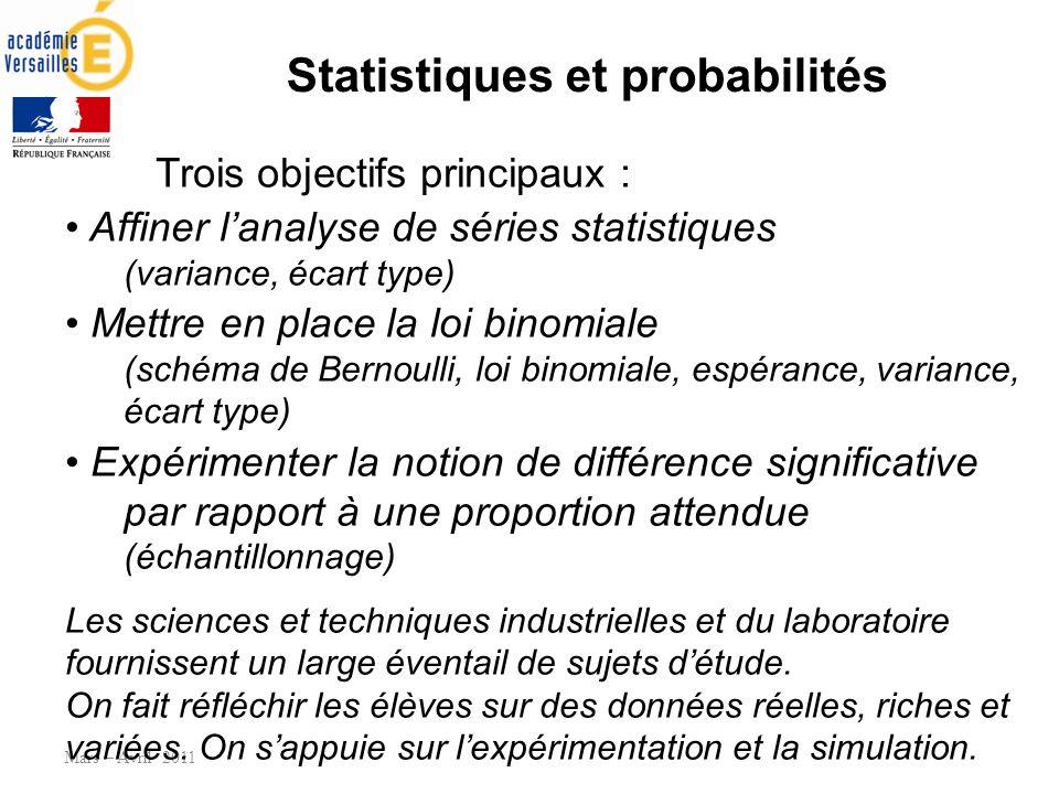Statistiques et probabilités Mars – Avril 2011 Trois objectifs principaux : Affiner lanalyse de séries statistiques (variance, écart type) Mettre en p
