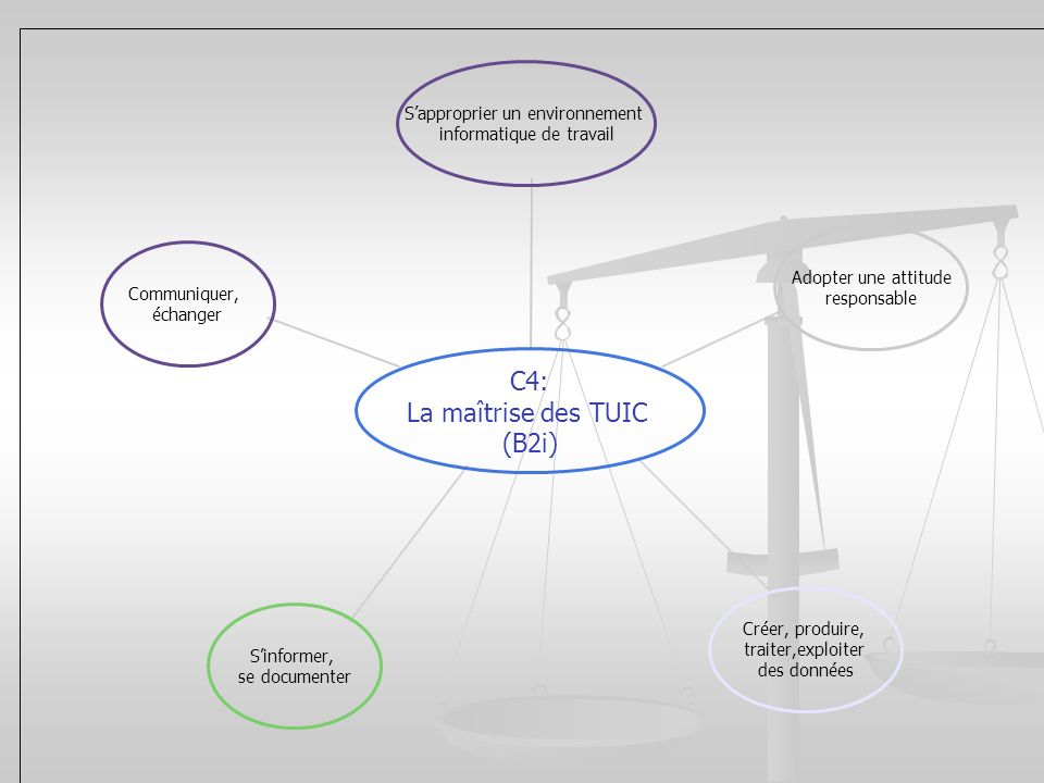 C4: La maîtrise des TUIC (B2i) Sapproprier un environnement informatique de travail Adopter une attitude responsable Créer, produire, traiter,exploite