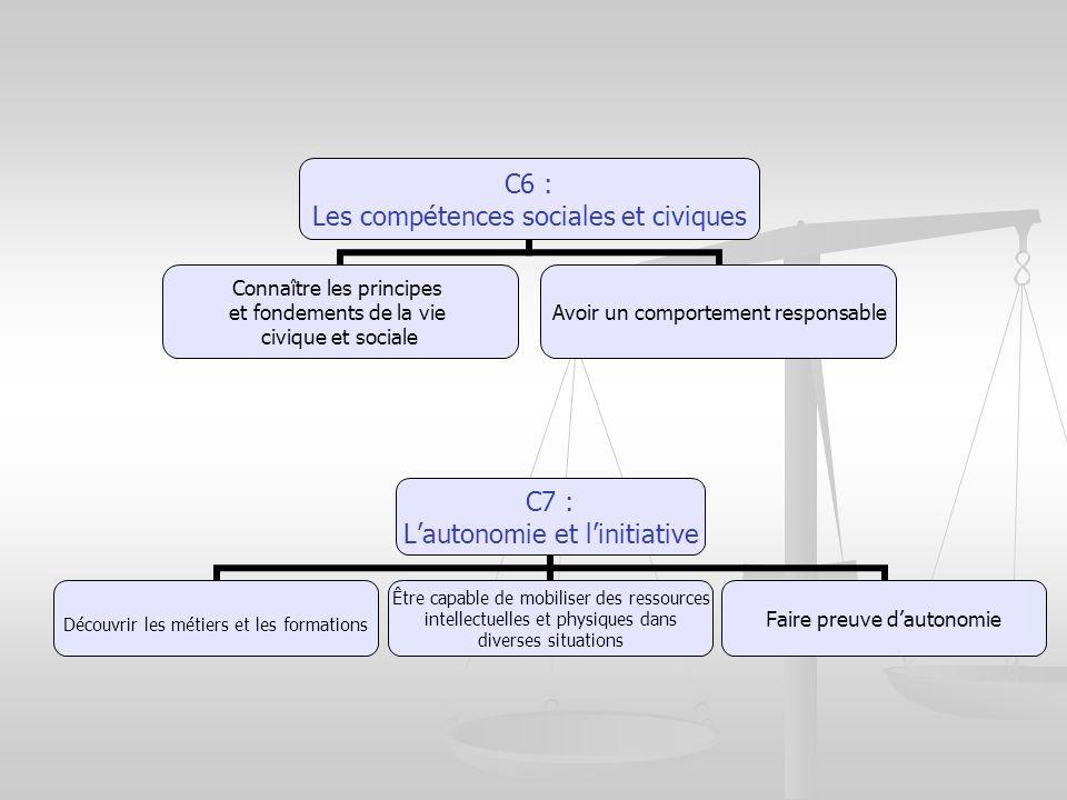 C6 : Les compétences sociales et civiques Connaître les principes et fondements de la vie civique et sociale Avoir un comportement responsable C7 : La