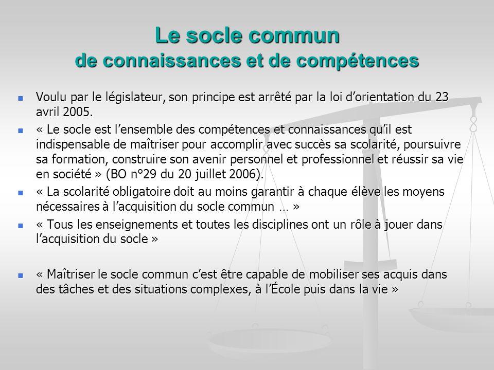 Le socle commun de connaissances et de compétences Voulu par le législateur, son principe est arrêté par la loi dorientation du 23 avril 2005. Voulu p