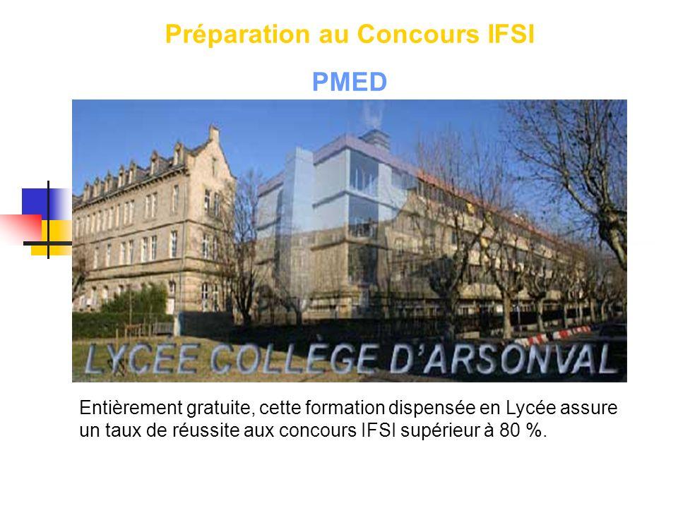 Préparation au Concours IFSI PMED Entièrement gratuite, cette formation dispensée en Lycée assure un taux de réussite aux concours IFSI supérieur à 80