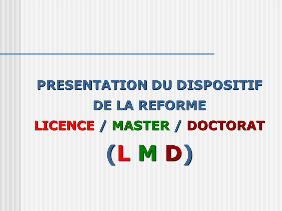 PRESENTATION DU DISPOSITIF DE LA REFORME LICENCE / MASTER / DOCTORAT (L M D)
