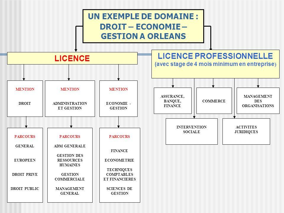 UN EXEMPLE DE DOMAINE : DROIT – ECONOMIE – GESTION A ORLEANS LICENCE PROFESSIONNELLE (avec stage de 4 mois minimum en entreprise ) LICENCE MENTION DRO