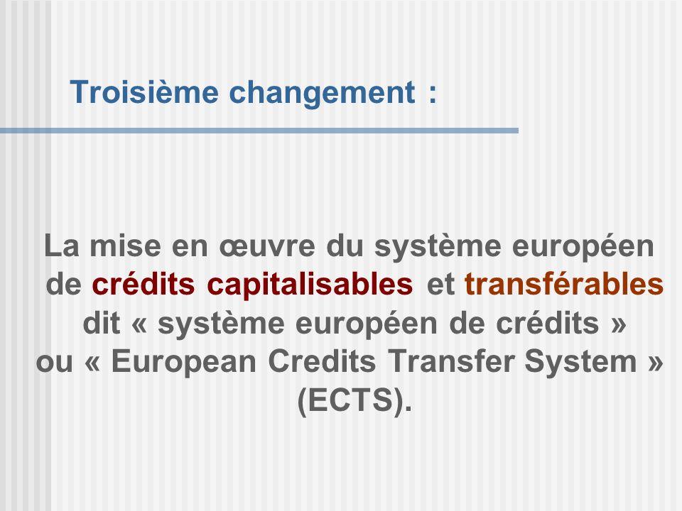 La mise en œuvre du système européen de crédits capitalisables et transférables dit « système européen de crédits » ou « European Credits Transfer Sys