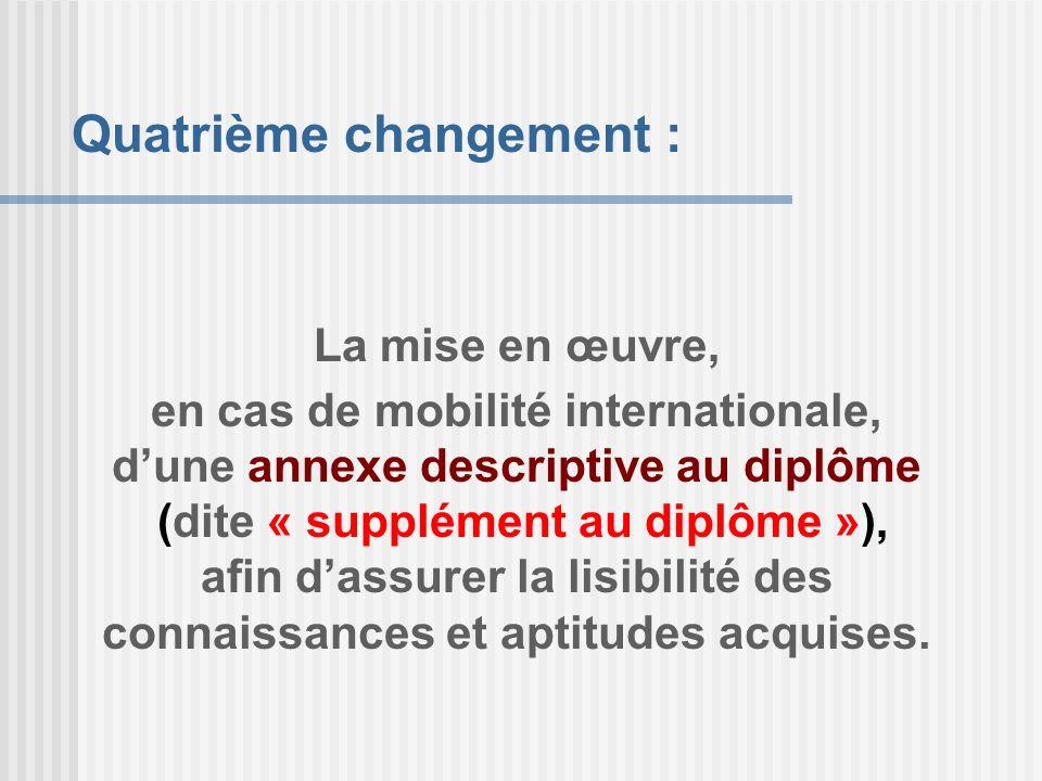 La mise en œuvre, en cas de mobilité internationale, dune annexe descriptive au diplôme (dite « supplément au diplôme »), afin dassurer la lisibilité
