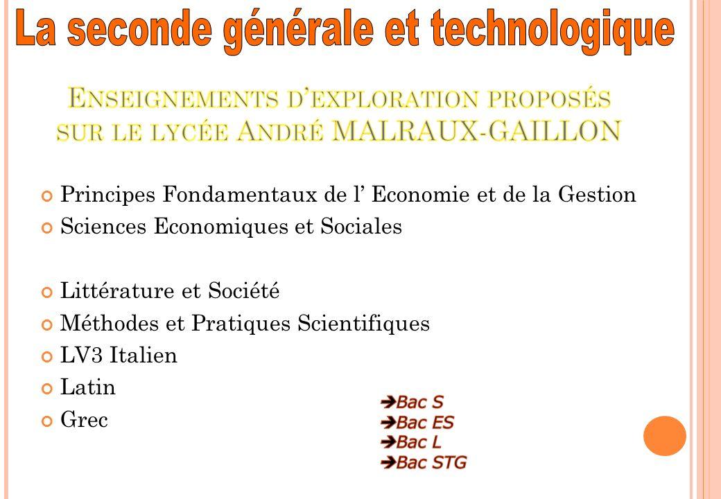 Principes Fondamentaux de l Economie et de la Gestion Sciences Economiques et Sociales Littérature et Société Méthodes et Pratiques Scientifiques LV3 Italien Latin Grec