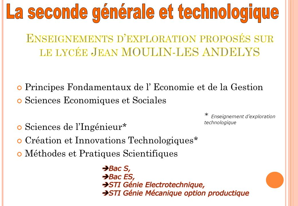 Principes Fondamentaux de l Economie et de la Gestion Sciences Economiques et Sociales Sciences de lIngénieur* Création et Innovations Technologiques*