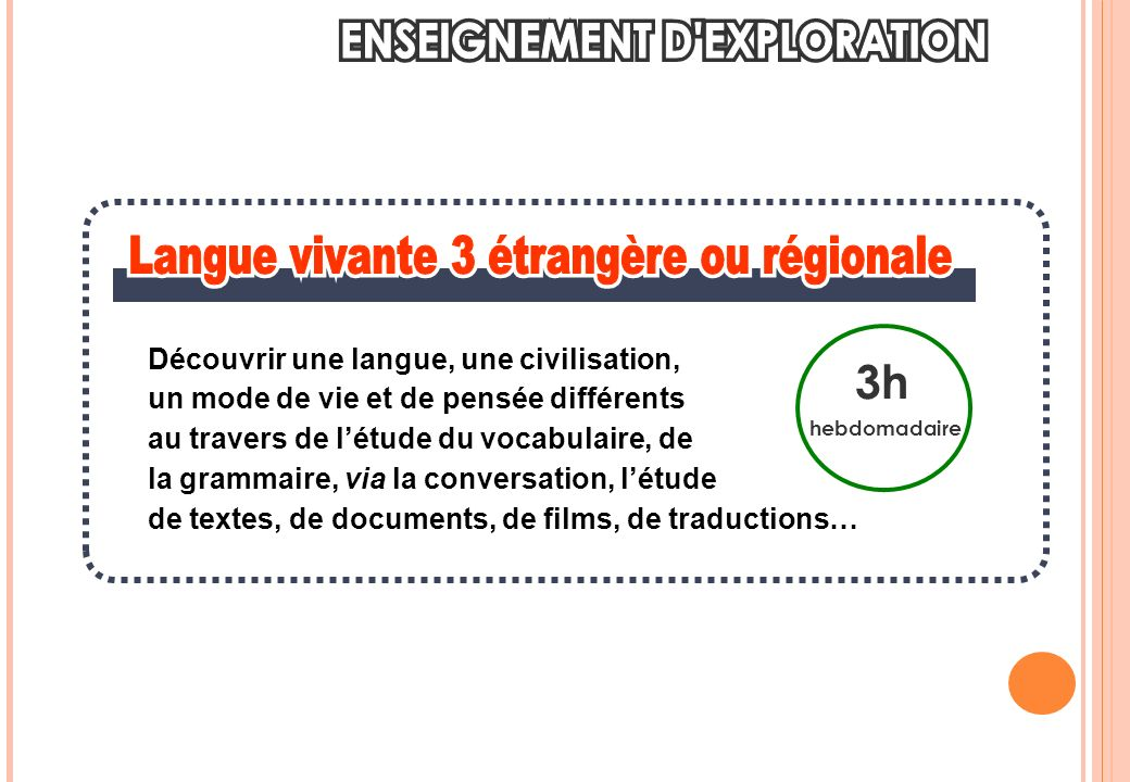 3h hebdomadaire Découvrir une langue, une civilisation, un mode de vie et de pensée différents au travers de létude du vocabulaire, de la grammaire, via la conversation, létude de textes, de documents, de films, de traductions…