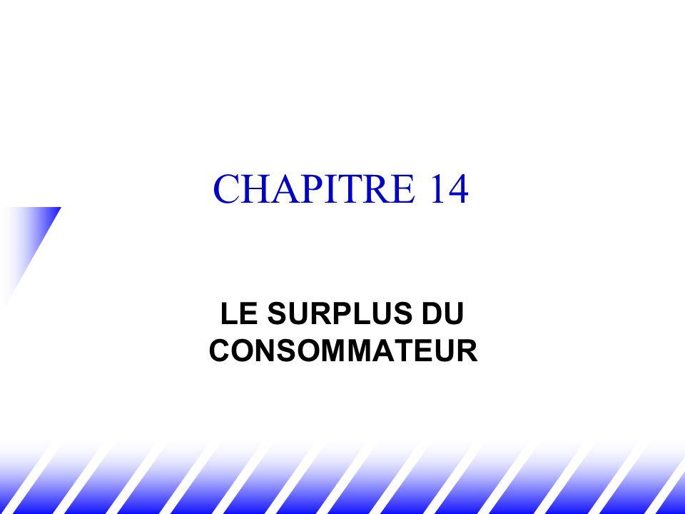 CHAPITRE 14 LE SURPLUS DU CONSOMMATEUR