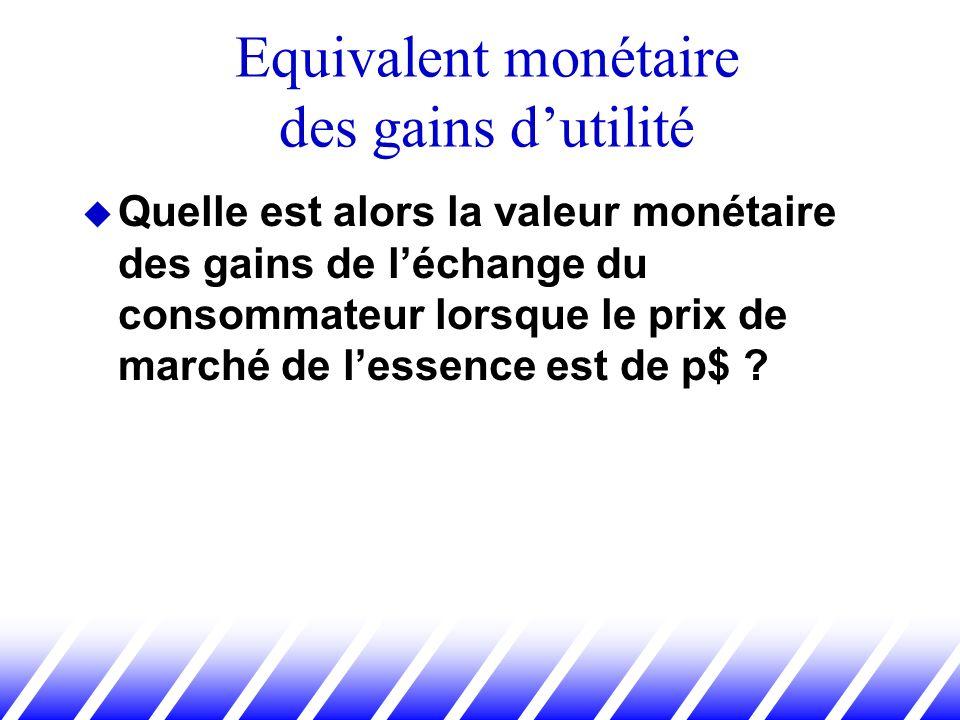 Quelle est alors la valeur monétaire des gains de léchange du consommateur lorsque le prix de marché de lessence est de p$ ? Equivalent monétaire des