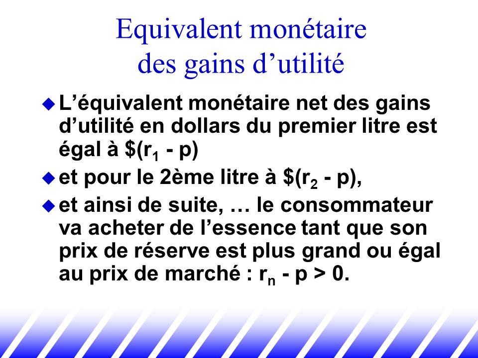 Léquivalent monétaire net des gains dutilité en dollars du premier litre est égal à $(r 1 - p) et pour le 2ème litre à $(r 2 - p), et ainsi de suite,