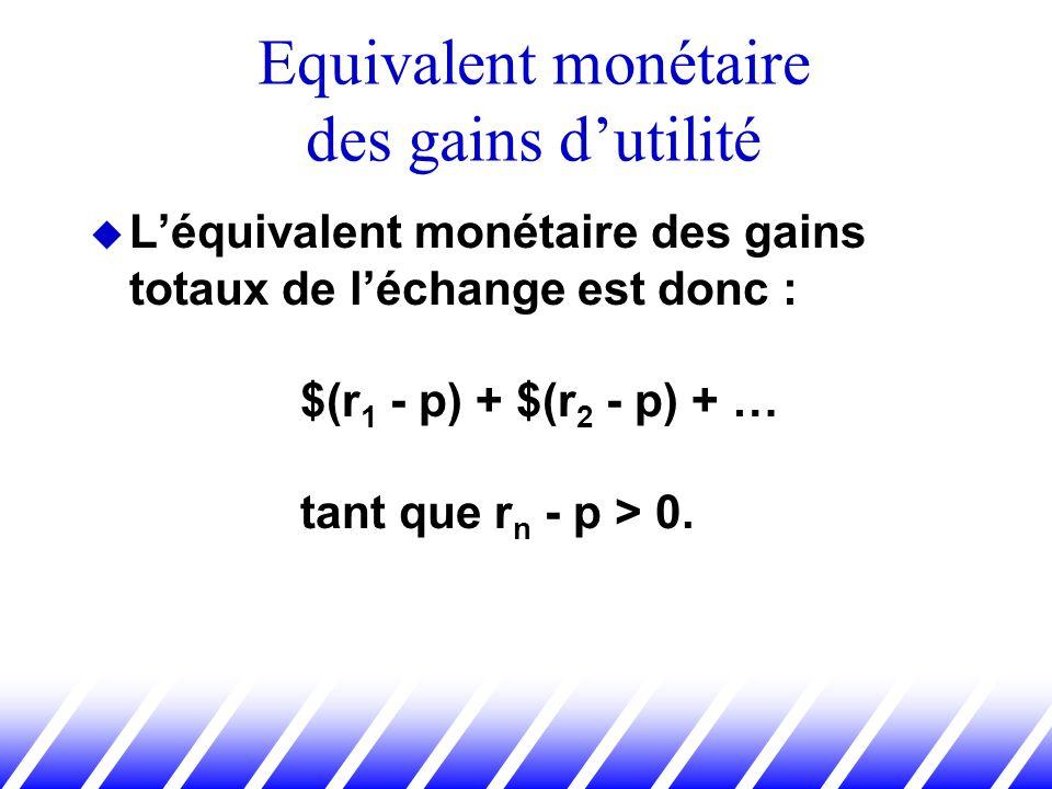 Léquivalent monétaire des gains totaux de léchange est donc : $(r 1 - p) + $(r 2 - p) + … tant que r n - p > 0. Equivalent monétaire des gains dutilit