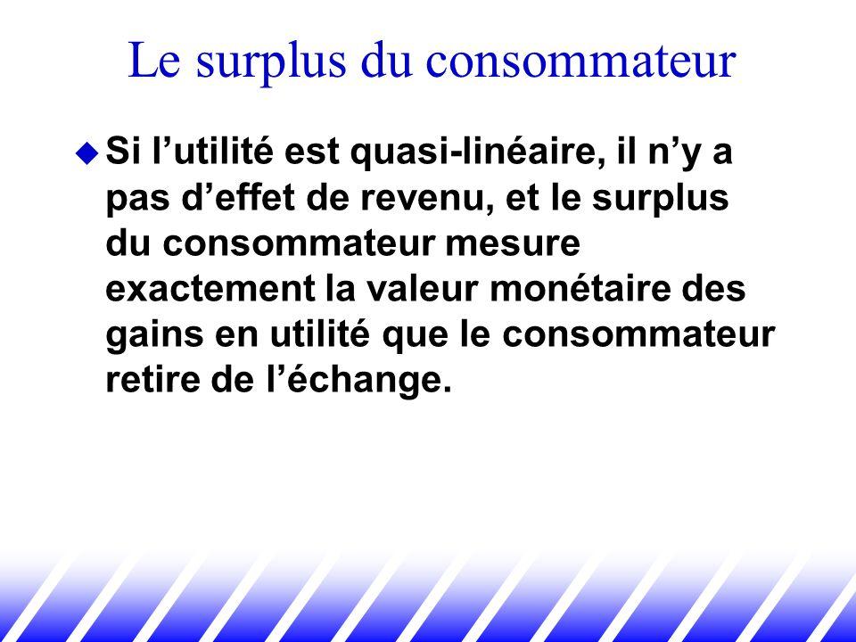 Si lutilité est quasi-linéaire, il ny a pas deffet de revenu, et le surplus du consommateur mesure exactement la valeur monétaire des gains en utilité