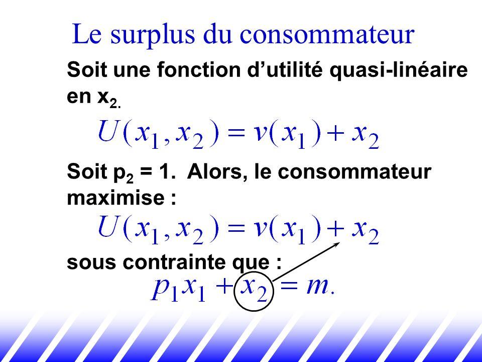 Le surplus du consommateur Soit une fonction dutilité quasi-linéaire en x 2. Soit p 2 = 1. Alors, le consommateur maximise : sous contrainte que :