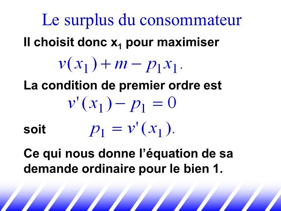 Le surplus du consommateur Il choisit donc x 1 pour maximiser La condition de premier ordre est soit Ce qui nous donne léquation de sa demande ordinai